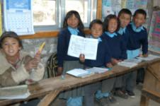 Sherpa children in their new school building