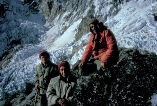 Peter Hillary, age 11, with his parents Ed and Louise Hillary in the Khumbu, Mt Everest
