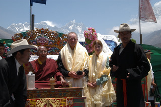 Peter Hillary with daughter Amelia and the Thyangboche Monastery Rimpoche (reincarnate lama),  2003, during the 50th Anniversary celebrations of Ed Hillary and Tenzing Norgay's historic first ascent.  Mt Everest, Chomolungma, is above the Rimpoche's head.