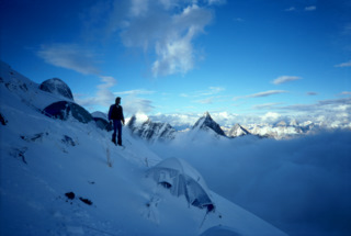 Geoff Lakes before the storm on K2, 1995