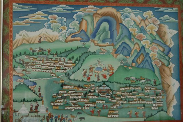 Traditional Sherpa painting by Kapa Kalden depicting the villages of Khunde and Khumjung.  Khunde Hospital is visible top left and Khumjung School bottom left.